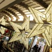 Holiday lit stars in a shopping mall