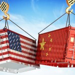 Two painted containers of American flag and Chinese flag hitting each other.