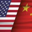 US China Flag on Slant