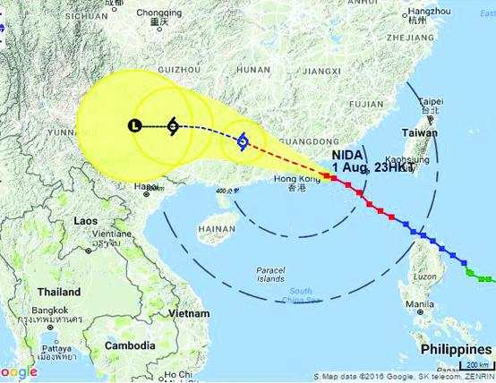Typhoon Nida Approaching Hong Kong