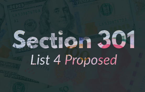 Section 301 Proposed List 4 Announced