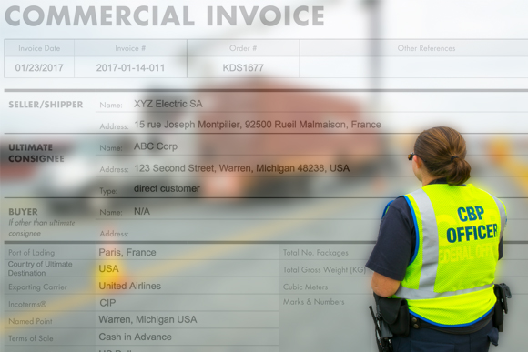 Customs officer with commercial invoice faded in the background