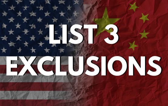 New Set of Exclusions for List 3 of Section 301 Tariffs